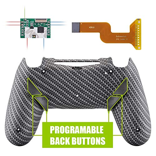 eXtremeRate Dawn Programable Remap Kit for PS4 Controller with Mod Chip & Redesigned Back Shell & 4 Back Buttons - Compatible with JDM-040/050/055 - Black Silver Carbon Fiber