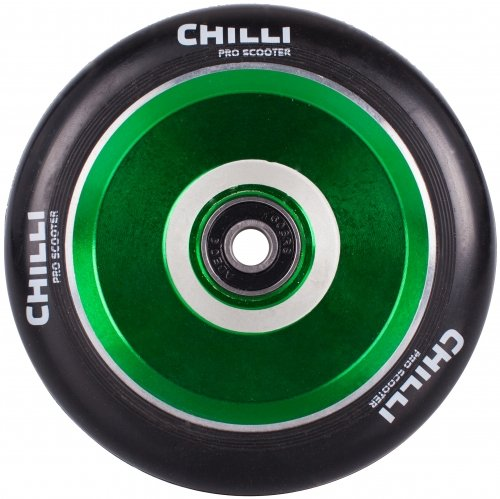(Chilli Pro Scooter Wheels 110mm Urethane - Pop Pro Scooter Replacement Wheels - Green Pro Scooters Wheels & ABEC 9 Bearings w/ Aluminum Hubs - Freestyle Stunt Scooter Wheel - (1 Single Wheel))