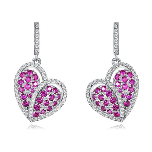 Merthus Womens 925 Sterling Silver Created Ruby Cluster Heart Dangle Earrings (Ruby Cluster Ring)