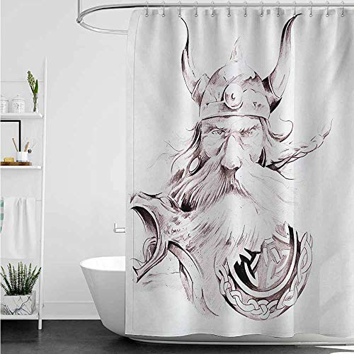 home1love Shower stall Curtains,Tattoo Wise Old and Brave Viking Warrior with his Long White Beard and Armour Print,Art Print Polyester,W60x72L,Dried Rose White ()