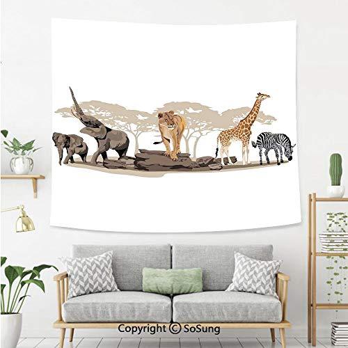 8' Wool Purse - Safari Wall Tapestry,Illustration of Wild Savannahs African Animals Exotic Giraffe Lion Elephant Zebra,Bedroom Living Room Dorm Wall Hanging,80X60 Inches,Multicolor
