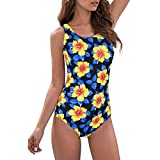 Zando Womens Bathing Suits One Piece Swimsuits Athletic Training Swimsuit Tummy Control Swimwear Swim Suits Blue-Yellow Flower Print 10-12