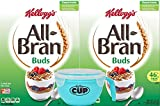 Kellogg's All-Bran Buds Cereal, 22 Ounce Box (Pack of 2) with By The Cup Cereal Bowl