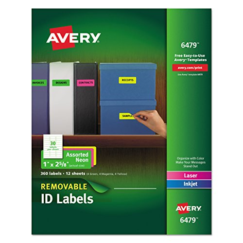 Removable Id Labels - Avery Multipurpose Labels, Removable, Assorted Neon, 1 x 2.625 Inches, Pack of 360 (6479)