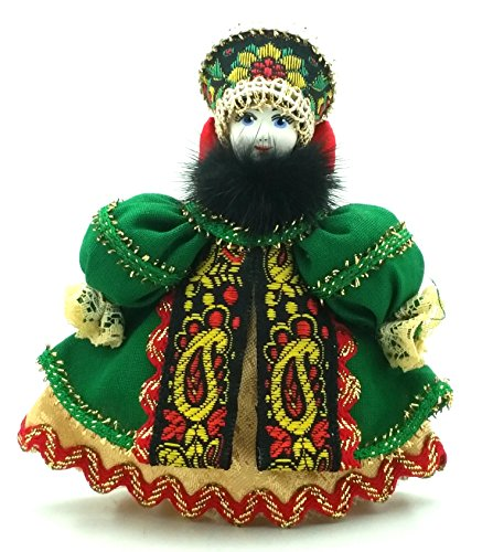 (CHRISTMAS Tree Ornament Russian Doll in traditional folk costume with porcelain hand painted face / Girl in a red dress)