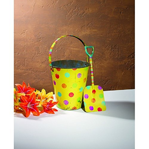 Adorable FOOD SAFE Antique-Style Yellow Metal Polka Dot Sand Pail with Shovel