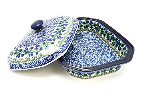 Polish Pottery Baker - Rectangular Covered - Large - Huckleberry - Pottery Covered Casserole