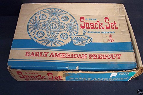 Anchor Hocking Early American Prescut Star of David Snack Set Service for 4