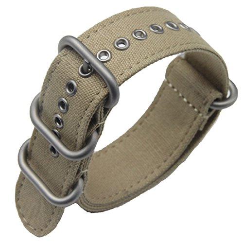 quisite Men's One-Piece Nato style Exotic Canvas Watch Bands Straps Textile ()