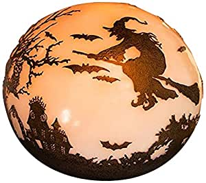 "Plow & Hearth 88019 Halloween Glowing Luminary Outdoor Garden Globe, 9"" Diameter x 9"""