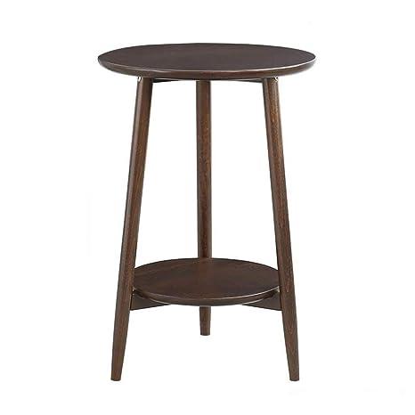 Amazon.com: L-Life - Mesa auxiliar de madera redonda de ...