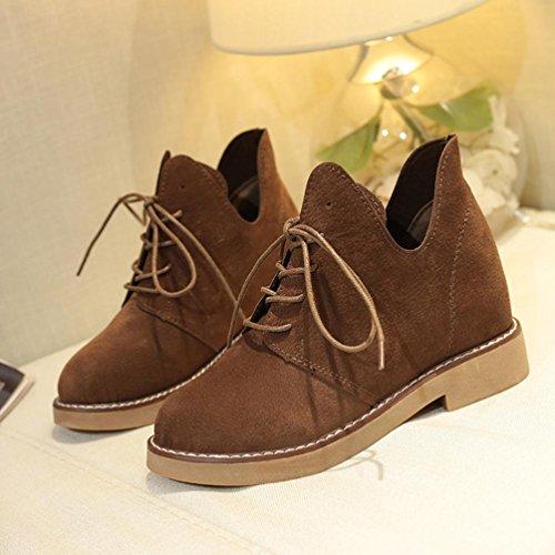 Botas Mujer,Ouneed ® Moda británica estilo Martin botas botas de tacón plano Casual Marrón