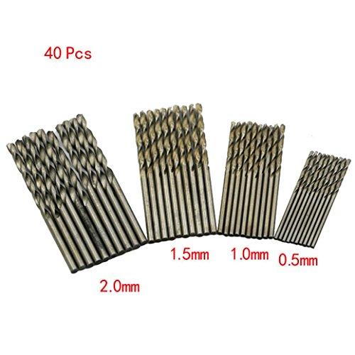 Iuhan 40 Pcs Mini Drill HSS Bit 0.5mm-2.0mm Straight Shank PCB Twist Drill Bits Set