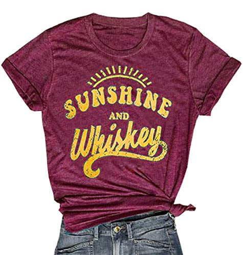 Sunshine and Whiskey Short Sleeve T-Shirt Women Beach Funny Letters Print Summer Tops Tees (S, Red)]()