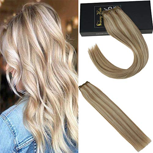 Sunny 7A Quality Blonde Hair Weft Human Hair Piano Color Blonde Highlight Dark Ash Blonde Brazilian Sew in Remy Hair Bundles 100g 20inch