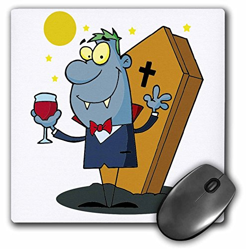 3dRose Dooni Designs More Random Cartoon Designs - Silly Halloween Vampire Cartoon Character - MousePad (mp_118808_1)