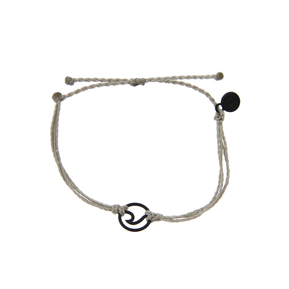 Pura Vida Black OG Wave Light Grey Bracelet - Plated Charms, Adjustable Band - 100% Waterproof by Pura Vida