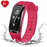HOMESTEC Blood Pressure Fitness Tracker S4Plus Smart Watch with SPO2H Heart Rate Monitor Sleeping Management Pedometer with OLED Touch Screen for Android iOS(Red)