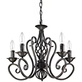 Ecopower Elegant Simplicity Antique ORB Color Wrought Iron 5-Light Candle Candelabra Chandeliers