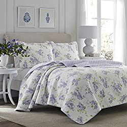 Laura Ashley 221051 Keighley Lilac Quilt Set,Lilac,Full/Queen