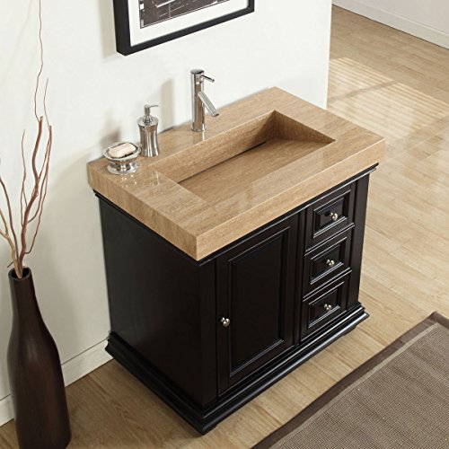 Silkroad Exclusive V0285TR36L Bathroom Vanity Travertine Top Single Ramp Sink Left Cabinet, 36