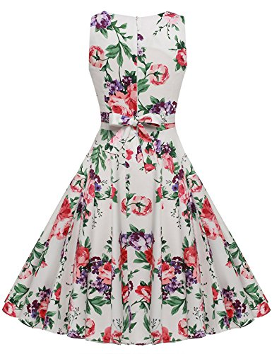 Spring ACEVOG Party Party Vintage Dress 1950's Garden Picnic Dress Cocktail Floral White Red wq6A1qCx