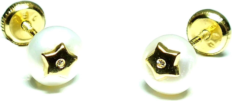 Pendientes oro 18k, bebe niña o mujer, modelo perla boton con diseño central estrella con circones engastadas. Cierre de seguridad.