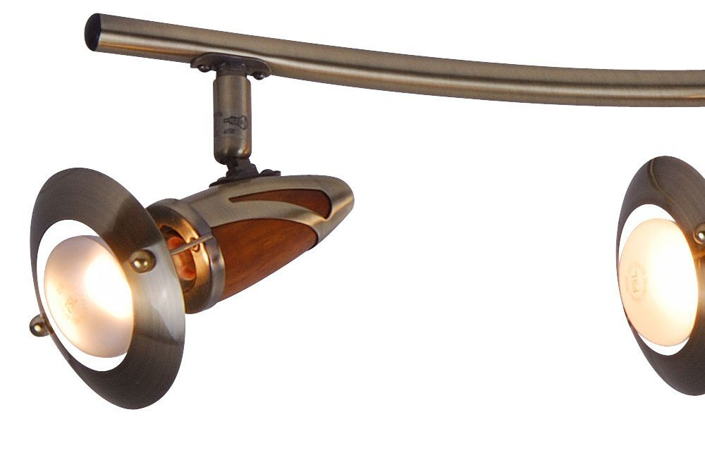 Globo 40 Watt E14 230 V Earl Spot Antique Brass Wood