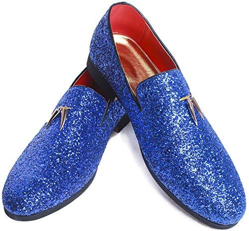 Men's Modern Glitter Tuxedo Slip-on Loafers Luxury Metallic Sequins Textured Wedding Prom Dress Shoes (13, Blue)