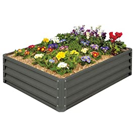 Stratco LG-18424 Raised Garden Bed, Metal, Slate Gray 7 Heavy duty metal construction Light enough to move and relocate Easy to keep clean and looking like new