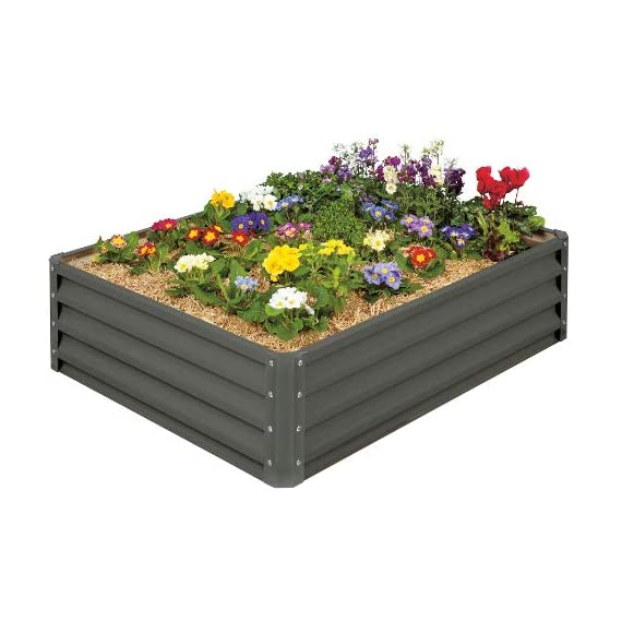 Stratco LG-18424 Raised Garden Bed, Metal, Slate Gray 1 Heavy duty metal construction Light enough to move and relocate Easy to keep clean and looking like new