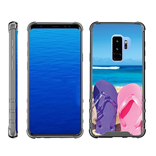 (TurtleArmor | Compatible for Samsung Galaxy S9 Case | G960 [Flexible Armor] Slim Fitted Flexible TPU Case Clear Cover Shock Bumper with Smoke Edges Ocean Beach Design - Sandal Flipflops)