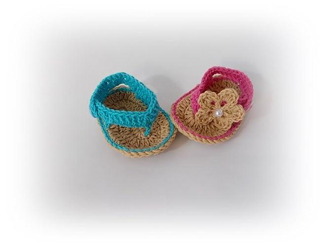 d33412e821 Amazon.com: Baby Flip Flops Baby Sandals Blue pink baby sandal: Handmade