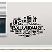 Fitness Words Cloud Gym Wall Decal Push Yourself Motivational Fitness Vinyl Sticker Inspirational Wall Decor Fitness Motivation Quote Sport Wall Art Training Workout Wall Mural 89fit