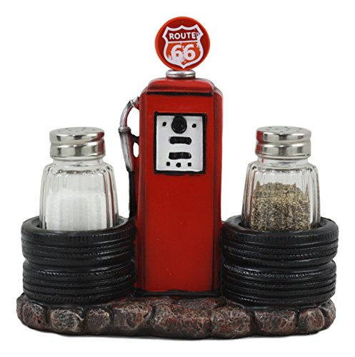 Ebros Route 66 Old Fashioned Gas Pump Station Salt And Pepper Shakers Holder Figurine Cross Country Road Trip (Route 66 Memorabilia)