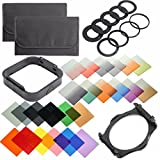 QKOO 17pcs Square Color Filters +4pcs Neutral Density ND Filter ND2/4/8/16 +3pcs Graduated Filter G.ND2/4/8 +9pcs Adapter Rings +Square Holder +Lens Hood +Cases for Canon Nikon DSLR for Cokin P Series