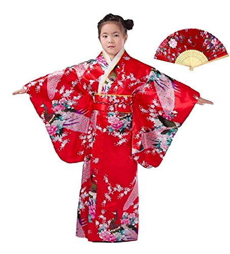 Mother Daughter Costumes Ideas (CRB Girls Kimono Japanese Top Robe Sash Belt Fan Set (Height 120cm, Red))