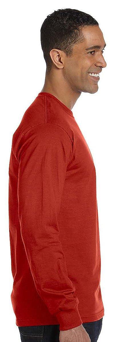 5186 Long-Sleeve Beefy-T -ORANGE-2XL Hanes mens 6.1 oz