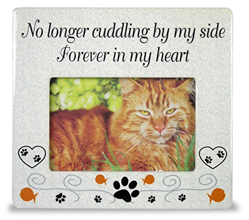BANBERRY DESIGNS Cat Memorial Ceramic Picture Frame - No Longer Cuddling by My Side Forever in My Heart - Loss of a Pet Gift - Pet Photo Frame - Pet Sympathy Gift - in Memory of a Pet ()