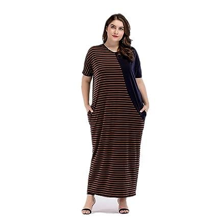 Cvbndfe Cómodo Vestido de Gran tamaño de Oriente Medio para Mujer Vestido a Rayas de Contraste