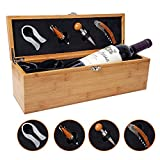 Be Burgundy – Bamboo Single Wine Box Set with Tools – Wine Presentation Box – Anniversary Ceremony Housewarming Wedding Favor Wine Gift Box Holder – Custom Engraved -1