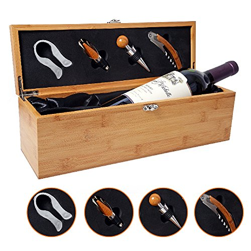 Be Burgundy - Bamboo Single Wine Box Set with Tools - Wine Presentation Box - Anniversary Ceremony Housewarming Wedding Favor Wine Gift Box Holder - Custom Engraved (Single Wine Presentation Case)