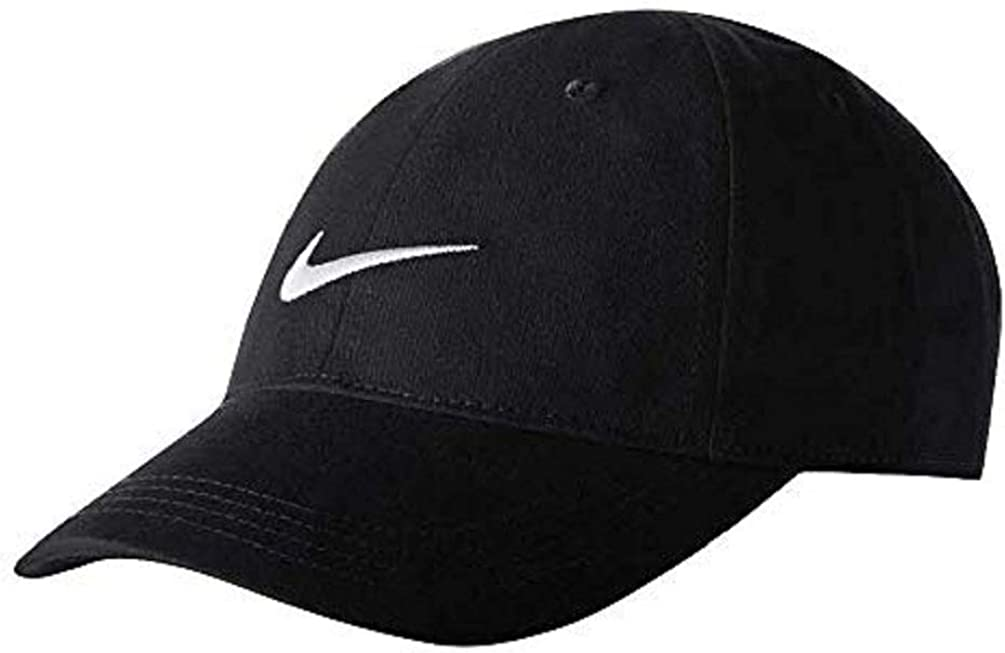 Nike Youth's Embroidered Swoosh Logo Cotton Baseball Cap (Black with Embroidered White Signature Swoosh Logo, 4/7-Toddler)