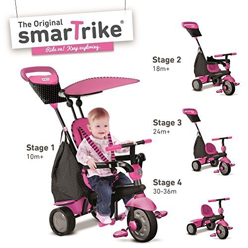 New Pink Smart Trike Glow 4-In-1 Child Tricycle Baby Ride-On