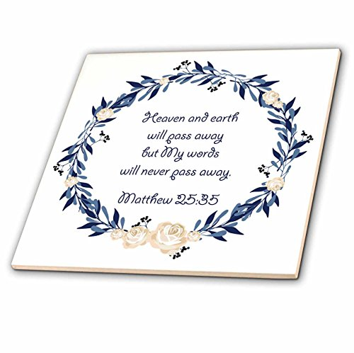 Gods Will Tile (3dRose TNMGraphics Scripture - Scripture Matthew 25 Heaven and Earth Will Pass Away - 8 Inch Ceramic Tile (ct_280636_3))