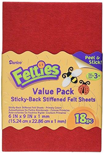 Darice FLT-0499 Felties Sticky Stiff Felt Sheets, 1mm, Primary Colors