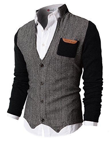 Sweater Herringbone V-neck (H2H Mens Slim Fit Stylish Button up Cardigan Of Knitted Sleeves BLACK US M/Asia L (KMOSWL015))