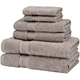 Pinzon Low Twist Pima Cotton 650-Gram 6-Piece Towel Set, Platinum