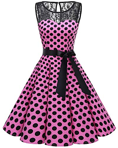 Bbonlinedress Women's 1950s Vintage Rockabilly Swing Dress Lace Cocktail Prom Party Dress Pink Black BDot L (Womens Black And Pink Dresses)