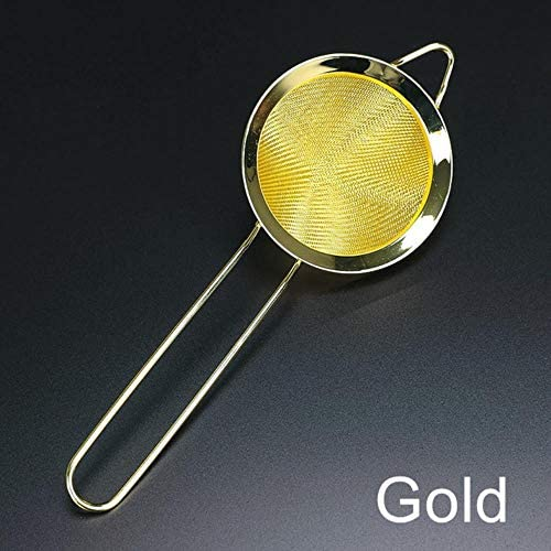 OHOME 1 PC 304 Stainless Steel Fine Mesh Strainer Cocktail Strainer Great for Removing Bits from Juice Julep Strainer Bar Tool,Gold Plated
